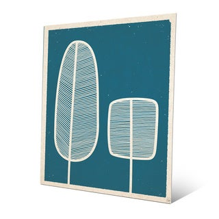 Feather Trees Blue Metal Wall Art Print
