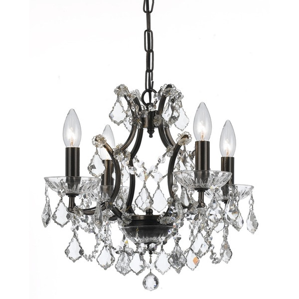 Crystorama Filmore Collection 4-light Vibrant Bronze/Swarovski Spectra Crystal Mini Chandelier
