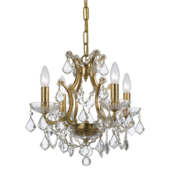 Crystorama Filmore Collection 4-light Antique Gold/Swarovski Elements Strass Crystal Mini Chandelier