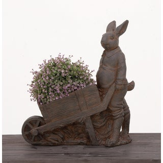 Urban Designs Standing Bunny Brown Polystone Garden Patio Planter