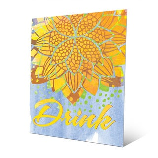 Lotus Drink Canary Metal Wall Art Print