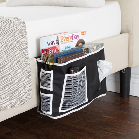 Everyday Home Bedside Organizer - Black with White Trim - 15 x 4.5 x 9
