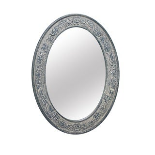 29.5-inch Gray Oval Wall Mirror