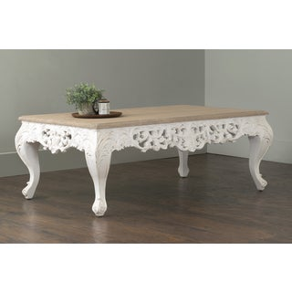 East At Main's Jackson White Rectangular Teakwood Coffee Table