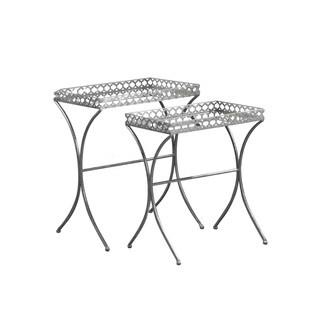 Apollo Silver Mirrored Glam Nesting Tables