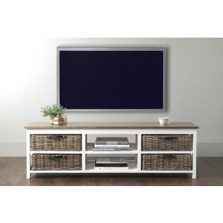 East At Main's Lovell White Rectangle Mahogany TV Stand