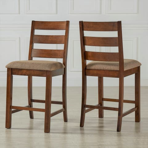 Maddox Rustic Burnished Finish Fabric Counter Height Chairs (Set of 2) by iNSPIRE Q Classic