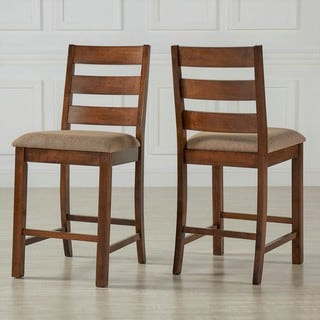 Maddox Rustic Burnished Finish Fabric Counter Height Chairs (Set of 2) by TRIBECCA HOME