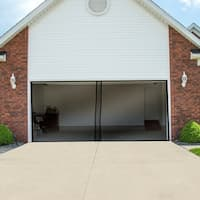 Magnetic Garage Door Screen for Two Car Garage- Heavy Duty Weighted Garage Enclosure by Pure Garden - Black