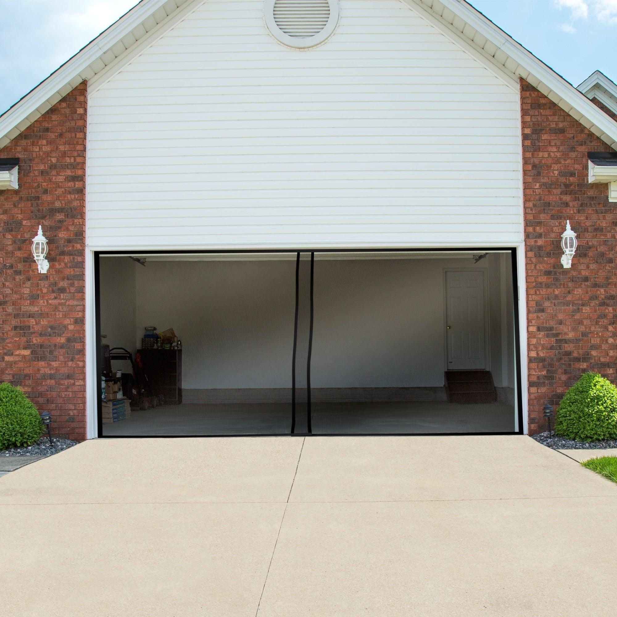 Pure Garden Two Car Garage Door Screen Curtain Black 202 X 90 Inches On Sale Overstock 14079259