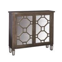 Hex Dusk Mirrored Glam Accent Cabinet