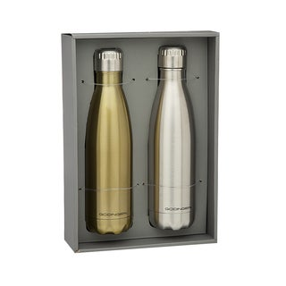 Godinger Insulated Hot/Cold Goldtone/Silvertone Stainless Steel 17 oz. Water Bottle (Set of 2)