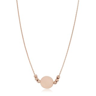 Fremada 14k Gold Round Disc and Diamond-cut Bead Adjustable Length Necklace (Yellow or Rose Gold)