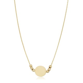 Fremada 14k Gold Round Disc And Diamond Cut Bead Adjustable Length Necklace Yellow Or Rose Gold
