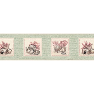Brewster Mint-colored Vinyl Seashell Border