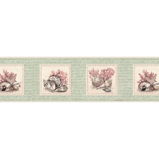 Brewster Mint-colored Vinyl Seashell Border