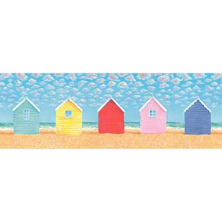 Brewster Beach Hut Vinyl Wallpaper Border