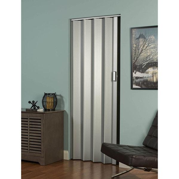 Shop Elite 48w X 80h Satin Silver Folding Door Free Shipping