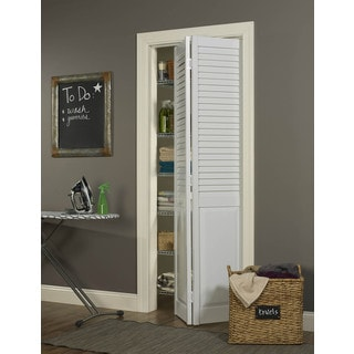 Seabrooke 24x80 White PVC Louver over Panel Bifold Door