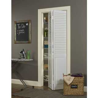 "Seabrooke 32""w x 80""h White PVC Louver over Panel Bifold Door"