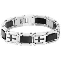 Stainless Steel 1/4ct TDW Black Diamond Cross Link Bracelet
