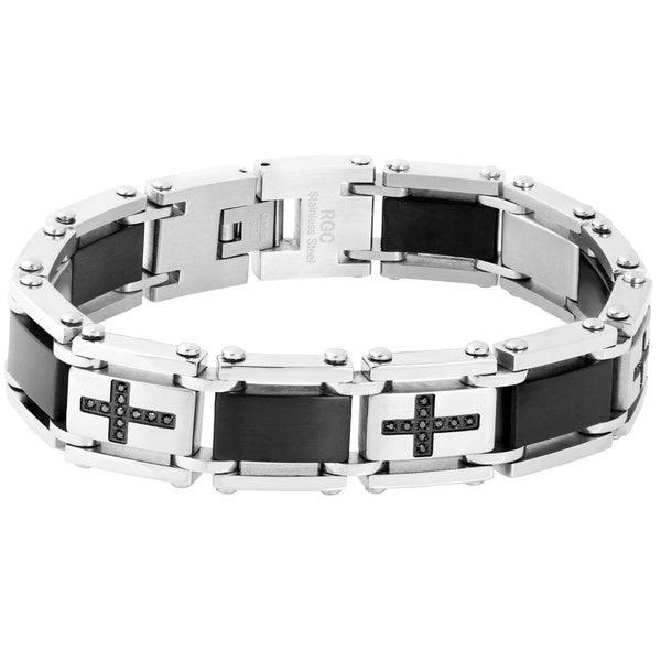 Stainless Steel 1/4ct TDW Black Diamond Cross Link Bracelet