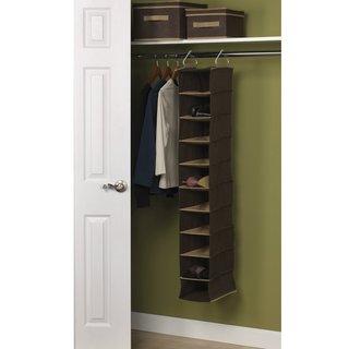 Coffee Linen 10-Pocket Hanging Closet Organizer