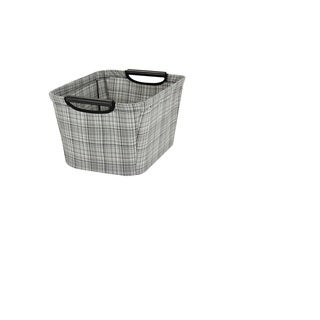 Household Essentials Tapered Storage Bin with Wood Handles in Grey Plaid