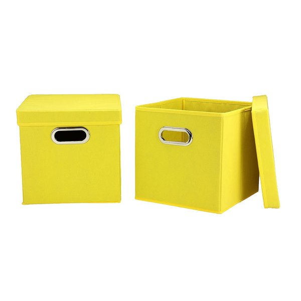 Shop Yellow Fabric Collapsible Lidded Storage Cubes Set