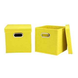 Yellow Fabric Collapsible Lidded Storage Cubes (Set of 2)