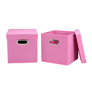 Pink 11-inch Storage Cubes (Pack of 2)
