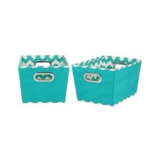 2-Tone Small Tapered Storage Bins, Aqua