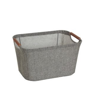 Wooden Handle Grey Small Tapered Soft-side Storage Bin - N/A