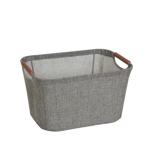 Wooden Handle Grey Small Tapered Soft-side Storage Bin  sc 1 st  Overstock.com & Shop Wooden Handle Grey Small Tapered Soft-side Storage Bin - Free ...