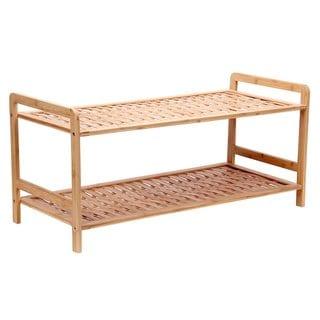 Bamboo 2-Tier Basket Weave Shelf Shoe Rack