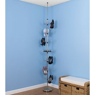 Floor-to-Ceiling Revolving Shoe Tree, Chrome