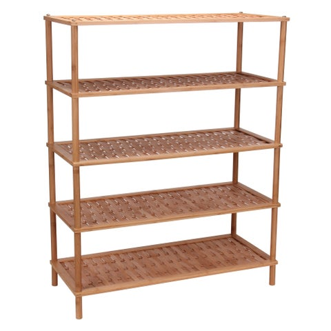 5-Tier Bamboo Shoe Rack, Basket weave