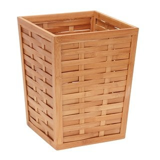 Bamboo Basket Weave Trash Can