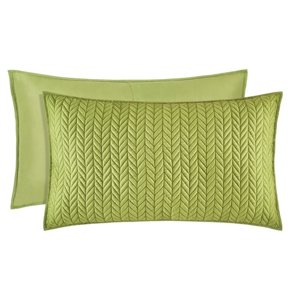Five Queens Court Catori Moss Green Quilted King-size Sham