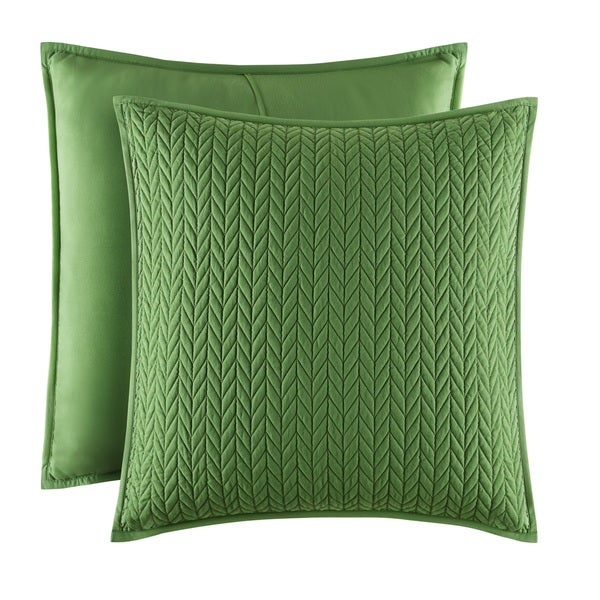 Five Queens Court Catori Kiwi Green Quilted Euro Sham