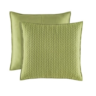 Five Queens Court Catori Moss Green Quilted Euro Sham