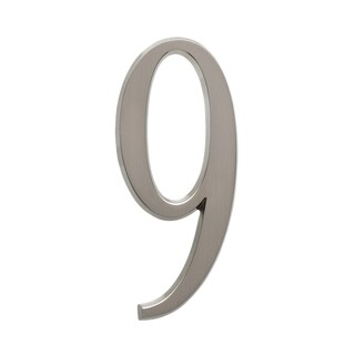 White Hall Number 9 Brushed Nickel 4.75-inch Numbers