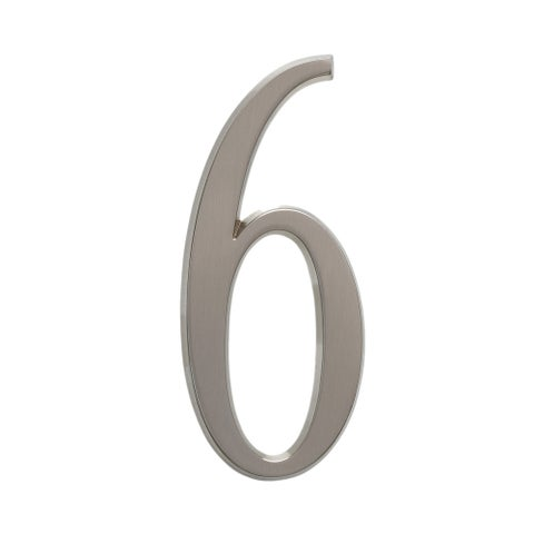 Whitehall Brushed Nickel 4.75-inch Number 6