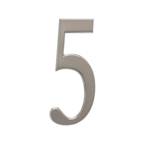 White Hall Brushed Nickel Zinc 4.75-inch Number 5 Decal