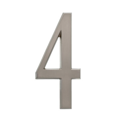 Whitehall Brushed Nickel 4.75inch Number 4