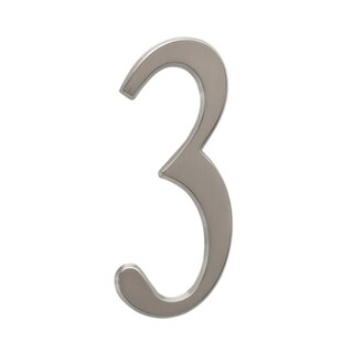 Whitehall Brushed Nickel 4.75-inch Number 3 Address Plaque