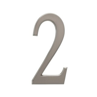 White Hall Brushed Nickel 4.75-inch Number 2 Address Number