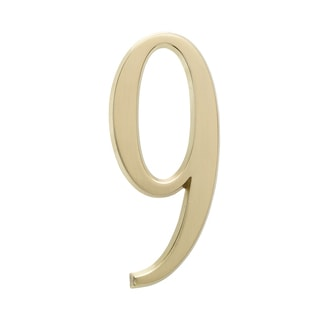 Whitehall Satin Brass Home Outdoor 4.75-inch Number 9