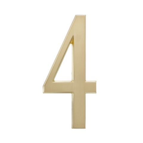 Whitehall Satin Brass Finished Large 4.75-inch Outdoor No. 4 Home Address Number