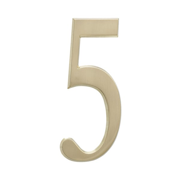 Whitehall Home Outdoor Satin Brass 4.75-inch Number '5' Address Plaque